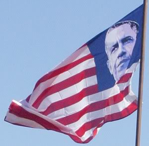 Obama face flags - sold on eBay and spotted in Kokimo, IN