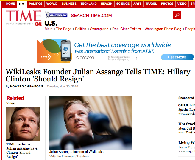 time magazine person of the year you. I expect TIME to name Assange