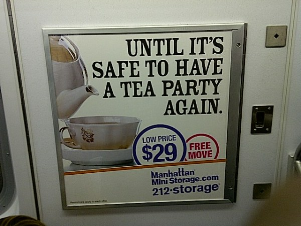 Tea party subway ad