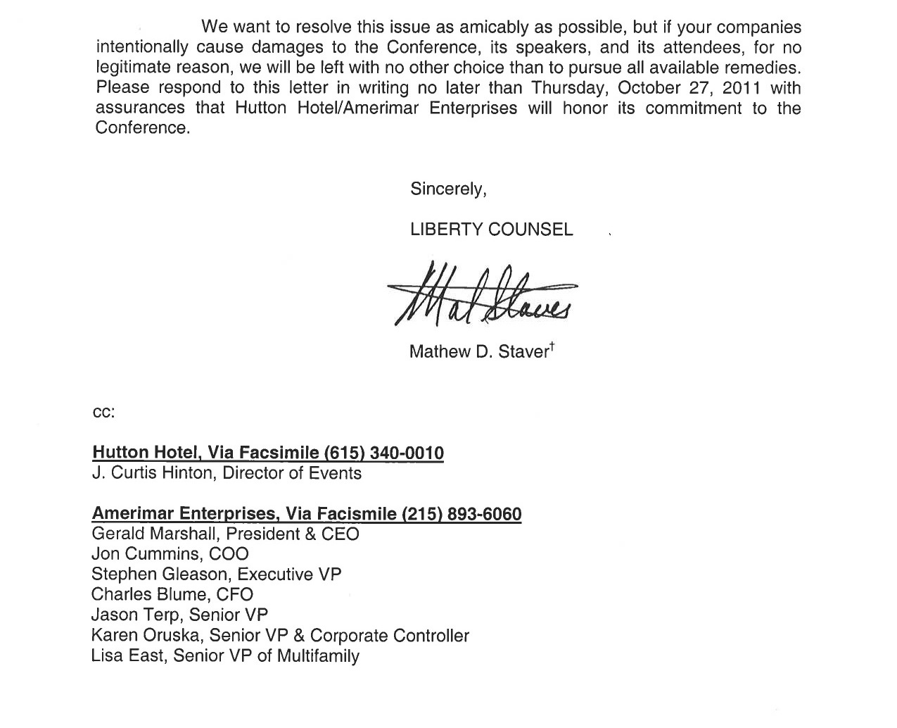 Liberty Counsel Demand Letter To Hutton Hotel Geller Report Ltr44 To Hutton  Hotel And Amerimar Re