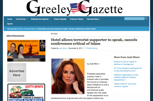 Hotel allows terrorist supporter to speak, cancels conferences critical of Islam | Greeley Gazette_1320822216416