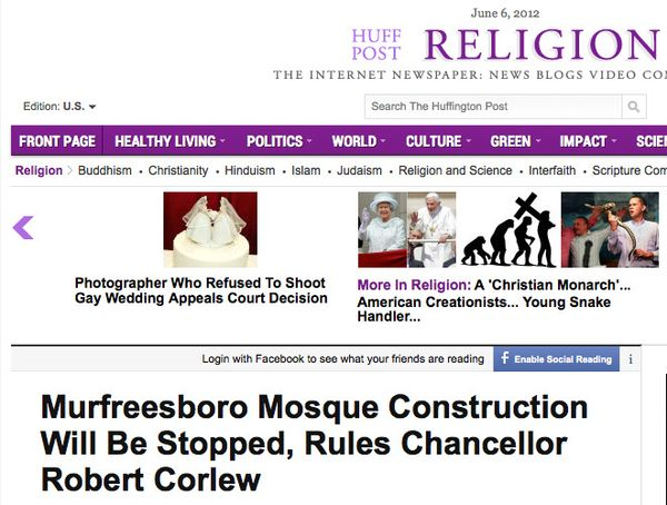 Murfreesboro Mosque Construction Will Be Stopped, Rules Chancellor Robert Corlew_1339016366173