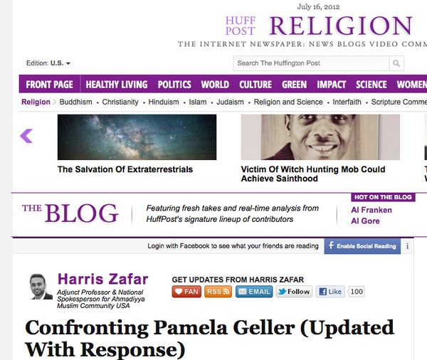Harris Zafar_ Confronting Pamela Geller (Updated With Response)_1342466363329