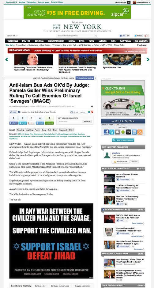 Anti-Islam Bus Ads OK_d By Judge_ Pamela Geller Wins Preliminary Ruling To Call Enemies Of Israel _Savages_ (IMAGE)_1342804196747