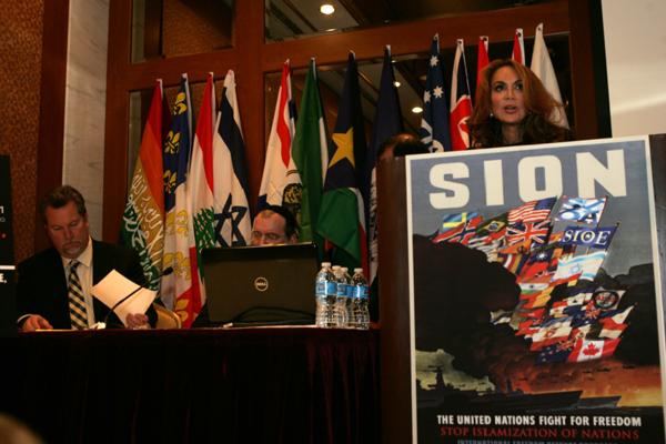 Pamela Geller, promoting SION, forerunner of the latest Pegida operation