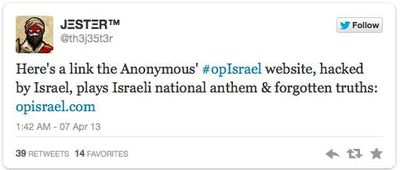 Israel Hacks Anonymous Back