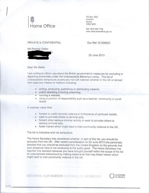 British ban letter